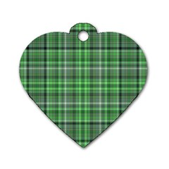 Green Plaid Dog Tag Heart (one Side)