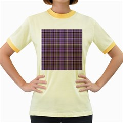 Purple  Plaid Women s Fitted Ringer T Shirts