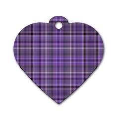 Purple  Plaid Dog Tag Heart (one Side)