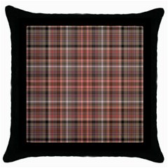 Peach  Plaid Throw Pillow Case (black)