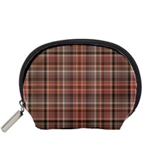 Peach  Plaid Accessory Pouches (small)