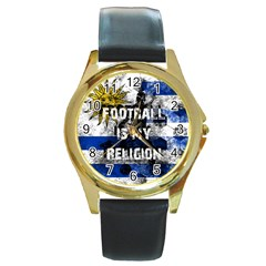 Football Is My Religion Round Gold Metal Watch
