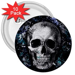 Skull 3  Buttons (10 Pack)