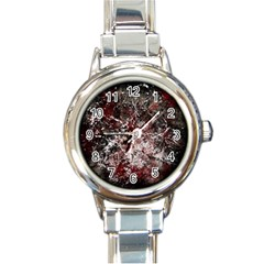Grunge Pattern Round Italian Charm Watch