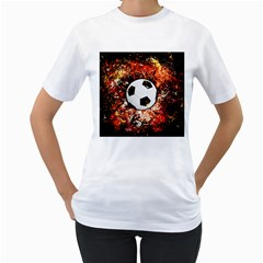 Football  Women s T Shirt (white) (two Sided)