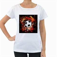 Football  Women s Loose Fit T Shirt (white)