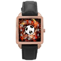 Football  Rose Gold Leather Watch