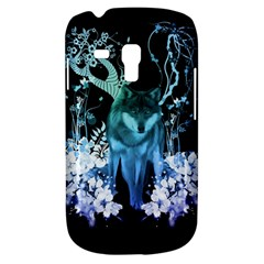 Amazing Wolf With Flowers, Blue Colors Galaxy S3 Mini