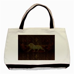 Wonderful Steampunk Lion With Floral Elements Basic Tote Bag (two Sides)