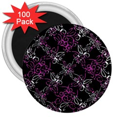 Dark Intersecting Lace Pattern 3  Magnets (100 Pack)