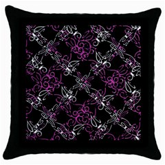 Dark Intersecting Lace Pattern Throw Pillow Case (black)
