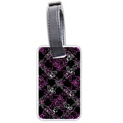 Dark Intersecting Lace Pattern Luggage Tags (one Side)