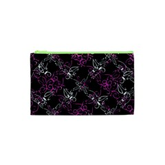 Dark Intersecting Lace Pattern Cosmetic Bag (xs)