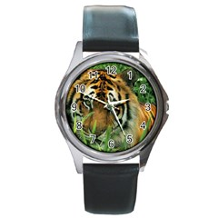 Tiger Round Metal Watch