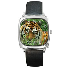 Tiger Square Metal Watch