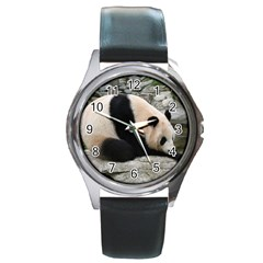 Giant Panda Round Metal Watch
