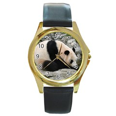 Giant Panda Round Gold Metal Watch