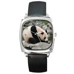 Giant Panda Square Metal Watch