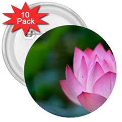 Red Pink Flower 3  Button (10 pack)