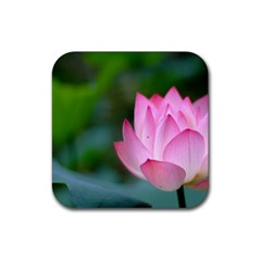 Red Pink Flower Rubber Coaster (square)