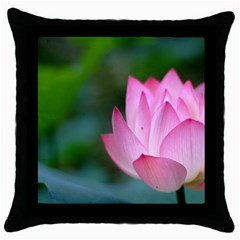 Red Pink Flower Throw Pillow Case (Black)