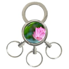 Red Pink Flower 3-Ring Key Chain