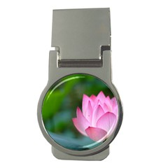 Red Pink Flower Money Clip (Round)
