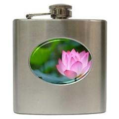 Red Pink Flower Hip Flask (6 oz)