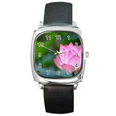 Red Pink Flower Square Metal Watch