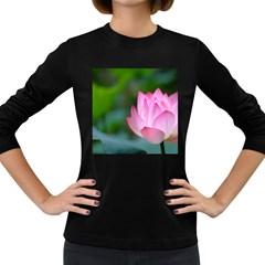 Red Pink Flower Women s Long Sleeve Dark T Shirt