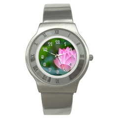 Red Pink Flower Stainless Steel Watch