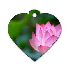 Red Pink Flower Dog Tag Heart (One Side)
