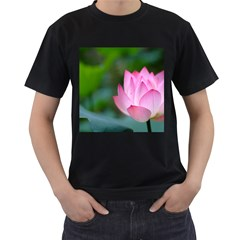 Red Pink Flower Black T-Shirt