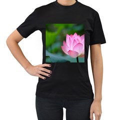 Red Pink Flower Women s Black T-Shirt