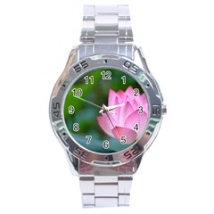 Red Pink Flower Stainless Steel Analogue Men's Watch