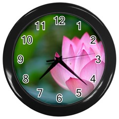 Pink Flowers Wall Clock (Black)