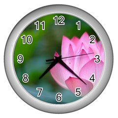 Pink Flowers Wall Clock (Silver)