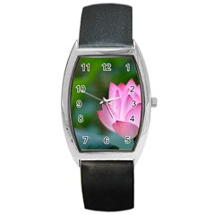 Pink Flowers Barrel Style Metal Watch