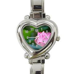 Pink Flowers Heart Italian Charm Watch
