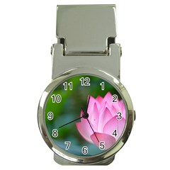 Pink Flowers Money Clip Watch