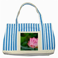 Pink Flowers Striped Blue Tote Bag