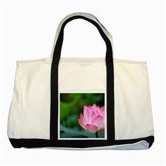 Pink Flowers Two Tone Tote Bag