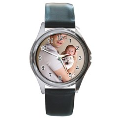 Father And Son Hug Round Metal Watch