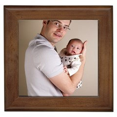 Father and Son Hug Framed Tile