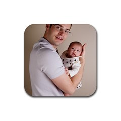 Father and Son Hug Rubber Coaster (Square)