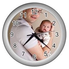 Father and Son Hug Wall Clock (Silver)