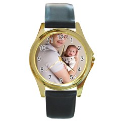 Father and Son Hug Round Gold Metal Watch