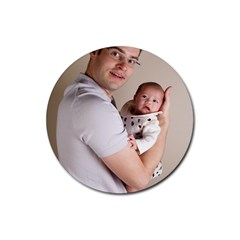 Father and Son Hug Rubber Coaster (Round)