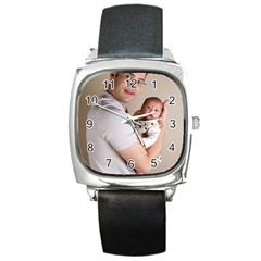 Father and Son Hug Square Metal Watch