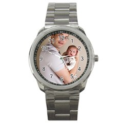 Father And Son Hug Sport Metal Watch